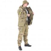 Костюм KE Tactical Горка-5 со съемной флисовой жилеткой с налокотниками и наколенниками хаки с накладками multicam