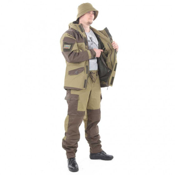 Костюм KE Tactical Горка-5 со съемной флисовой жилеткой с налокотниками и наколенниками хаки с накладками олива