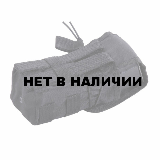 Подсумок KE Tactical под АК с ленточным клапаном одинарный со стропами черный