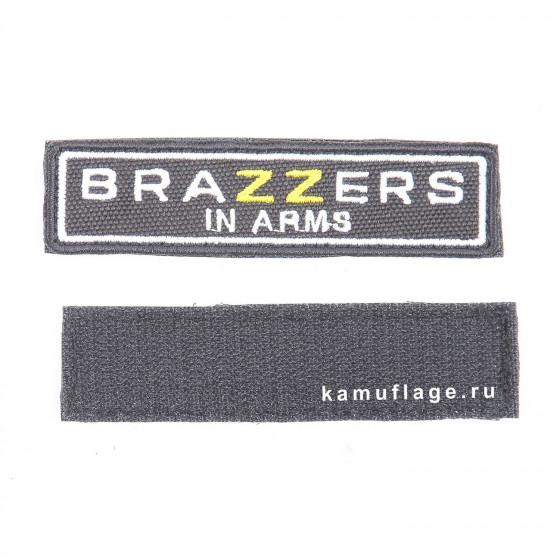 Шеврон KE Tactical BRAZZERS прямоугольник 2,5х9,5 черный/белый