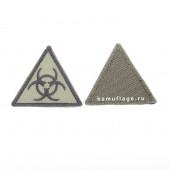 Шеврон Эпидемия треугольник 4,5 см олива/черный