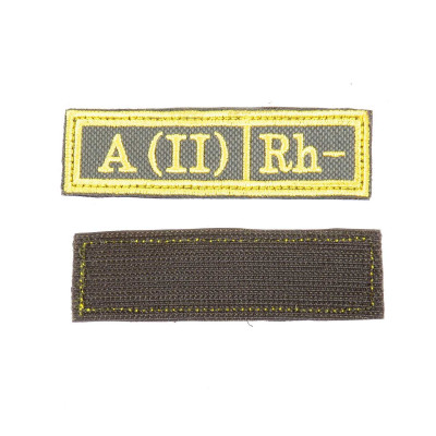 a6aa5280 Шеврон Группа крови A (II) Rh- прямоугольник 2,5х9,5 см олива/желтый ...