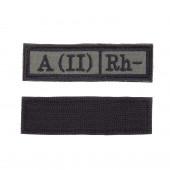 Шеврон KE Tactical Группа крови A (II) Rh- прямоугольник 2,5х9 см олива/черный