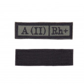 Шеврон Группа крови A (II) Rh+ прямоугольник 2,5х9 см олива/черный