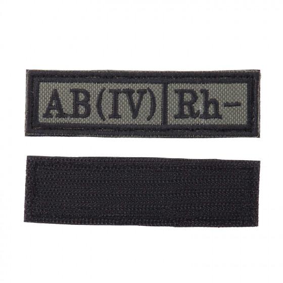 Шеврон KE Tactical Группа крови AB (IV) Rh- прямоугольник 2,5х9 см олива/черный