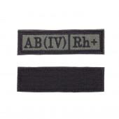 Шеврон KE Tactical Группа крови AB (IV) Rh+ прямоугольник 2,5х9 см олива/черный