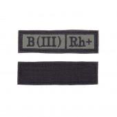 Шеврон KE Tactical Группа крови B (III) Rh+ прямоугольник 2,5х9 см олива/черный