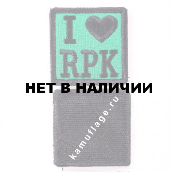 Шеврон KE Tactical I Love RPK квадрат 6 см зеленый/черный
