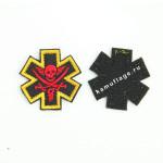 Шеврон Пират 5,5х5,5 см черный/красный/желтый