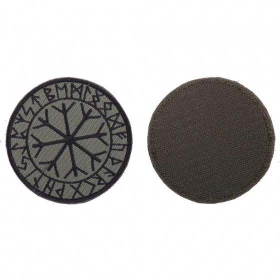 Шеврон KE Tactical Рунический круг Футарк круглый 8 см олива/черный