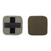 Шеврон Медицинский крест квадрат 5 см олива/черный