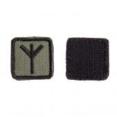 Шеврон KE Tactical Славянская руна Мир (Чернобог) квадрат 2,5 см олива/черный