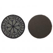 Шеврон Рунический круг Футарк круглый 8 см олива/черный