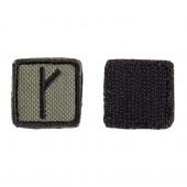 Шеврон KE Tactical Славянская руна Крада (Алатырь) квадрат 2,5 см олива/черный