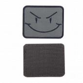 Шеврон Смайл прямоугольник 7,5х6 см олива/черный