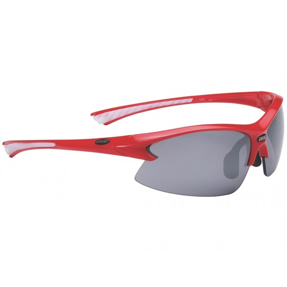 Очки солнцезащитные BBB Impulse PC Smoke flash mirror lens white tips red (BSG-38)