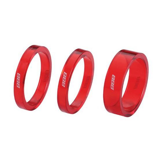 "Проставочные кольца BBB TransSpace 1-1/8"" 2x 5mm 1x 10mm red transparent (BHP-37)"