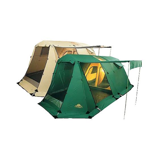 Пятиместная комфортабельная кемпинговая палатка с тремя входами и большим тамбуром Alexika Victoria 5 Luxe зеленый