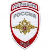Нашивка на рукав с липучкой Полиция Россия МВД парадная белая тканая
