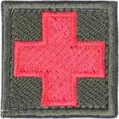Нашивка на рукав с липучкой Крест медицинский фон оливковый вышивка шелк