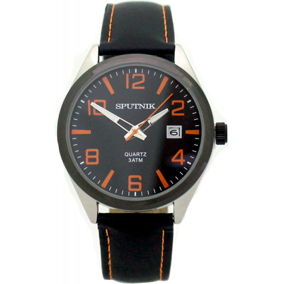 Мужские наручные часы Спутник М-400600/1.3 (черн.,оранж.оф.)