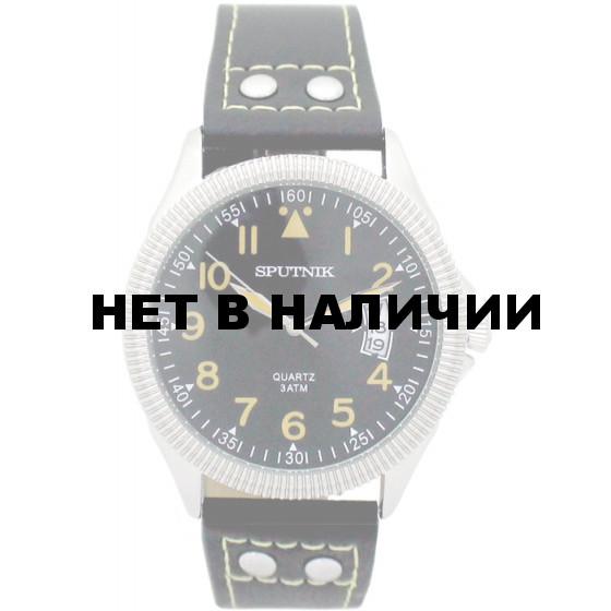 Мужские наручные часы Спутник М-400630/1 (черн.,желт.оф.)