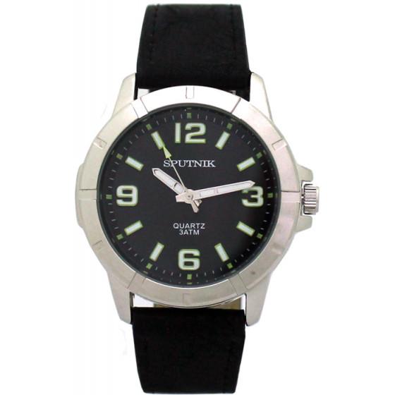 Мужские наручные часы Спутник М-858071/1 (черн.,зел.оф.)
