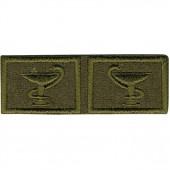 Эмблема петличная Медицинская служба нового образца полевая вышивка шёлк