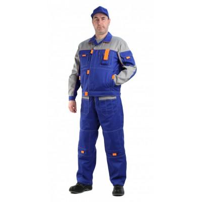 b7bad9438d2d Костюм мужской рабочий Профи летний с полукомбинезоном васильковый со  светло-серым, ткань Смесовая