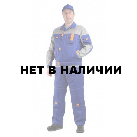 Костюм мужской рабочий Профи летний с полукомбинезоном васильковый со светло-серым, ткань Смесовая