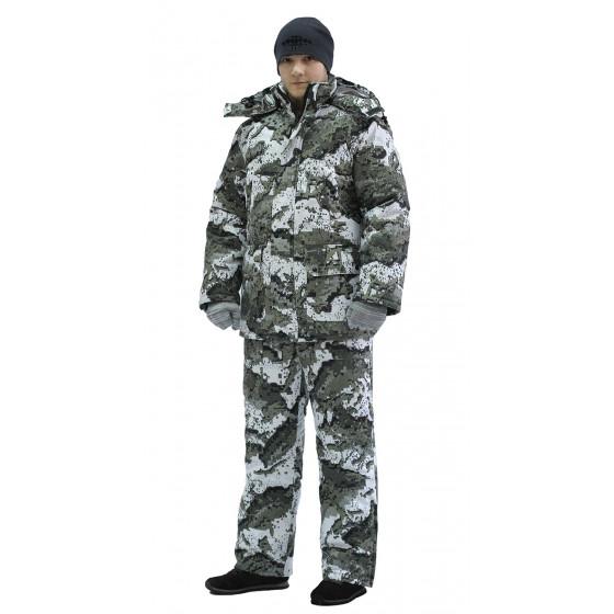 Костюм мужской Тайга зимний, куртка/полукомб.,подклад термофольга, ткань мембрана, цвет, камуфляж Серые Соты