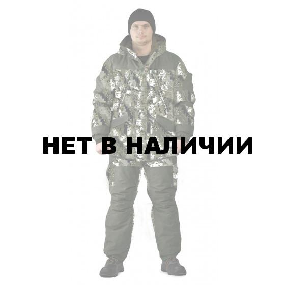 Костюм зимний ГРАСК куртка/полукомбинезон цвет:, камуфляж белые соты/темная олива, ткань : Алова/Финляндия