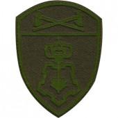 Нашивка на рукав с липучкой Росгвардия Приволжский Округ Вневедомственная охрана полевая фон оливковый пластик
