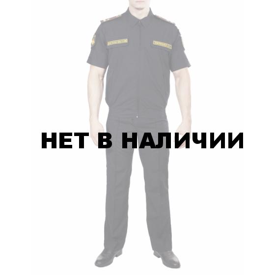 Костюм летний МПА-36 штабной с коротким рукавом Черный, ткань Панацея