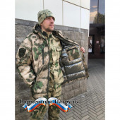 Бушлат зимний РОСГВАРДИЯ зеленый мох (рип стоп - мембрана /холофайбер, воротник-флис)