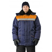Куртка зимняя УРАЛ цвет: темно синий/оранжевый