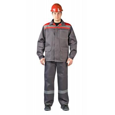 Костюм Ударник куртка/брюки темно-серый/красный