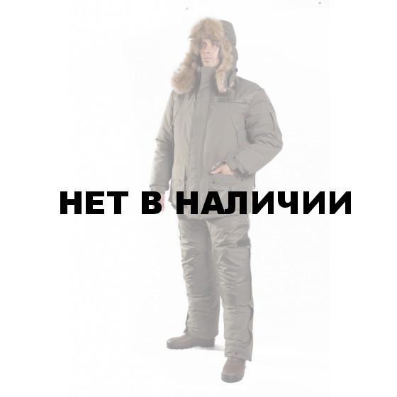 Костюм мужской Сармат зимний, меховой капюшон-шапка ушанка, ткань микрофибра100% пэ, цв, хаки.ТАЙФ