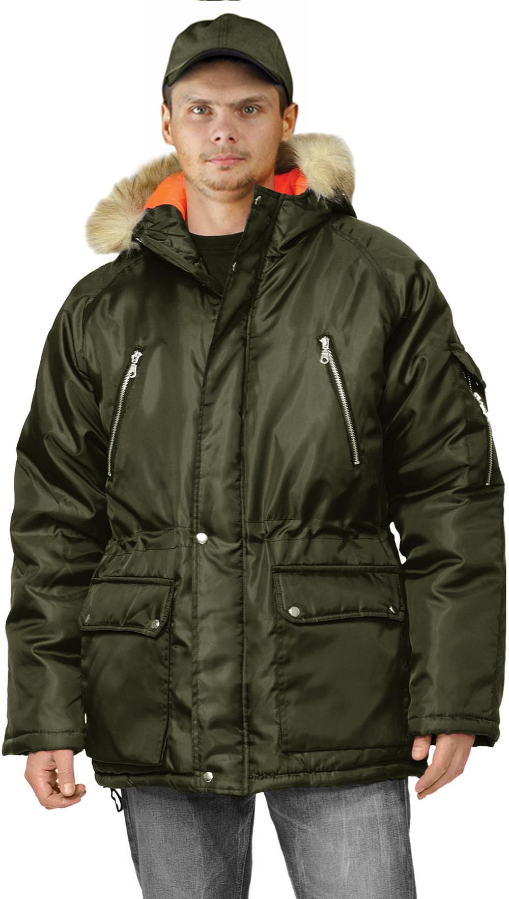 Куртка зимняя АЛЯСКА удлиненная цвет  хаки 3970bb7a272e9
