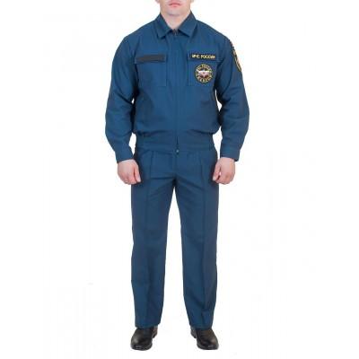 Костюм летний спасателя МЧС, ткань Рип-Стоп серо-синего цвета