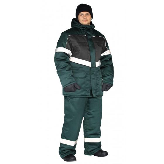 Костюм зимний ВЕКТОР куртка/полукомбинезон цвет: темно-зеленый/черный