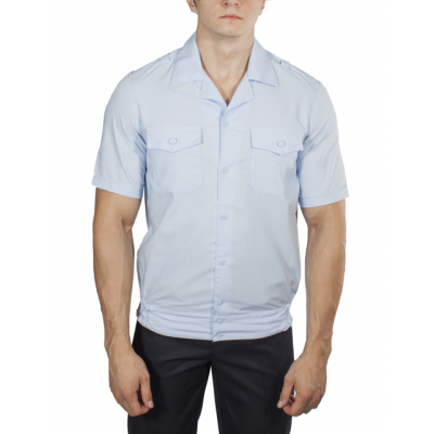 e85e982d071 Рубашка ПОЛИЦИЯ светло-голубая с коротким рукавом на резинке с отложным  воротником