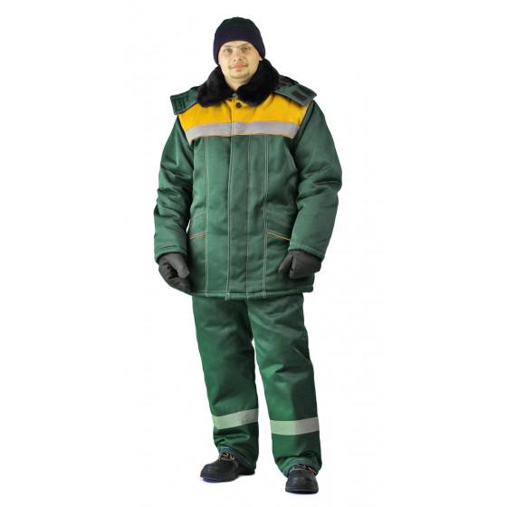 Костюм зимний ВЬЮГА куртка/полукомб. цвет: т..зелёный/жёлтый