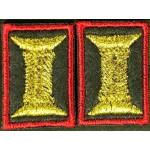 Петличные эмблемы офицерские оливковые с красным кантом шелк