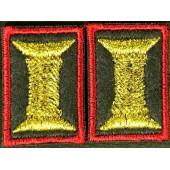Петличные эмблемы офицерские оливковые красный кант с липучкой люрекс