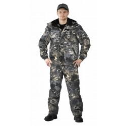 Костюм зимний ВИХРЬ куртка/полукомбинезон, камуфляж серая цифра, ткань : Алова