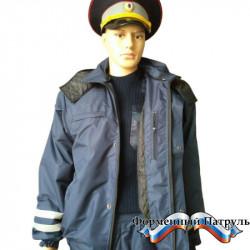 Костюм ДПС д/с с меховым воротом (мембрана Локер, подкладка стежка 100г/м2 цвет т.синий)