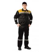 Костюм ЛЕГИОН куртка/полукомбинезон черный/желтый