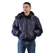 Куртка мужская Бомбер демисезонная, ткань Джордан темно-синяя (с капюшоном)