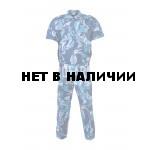 Костюм летний, короткий рукав, В-2 на молнии синяя кукла